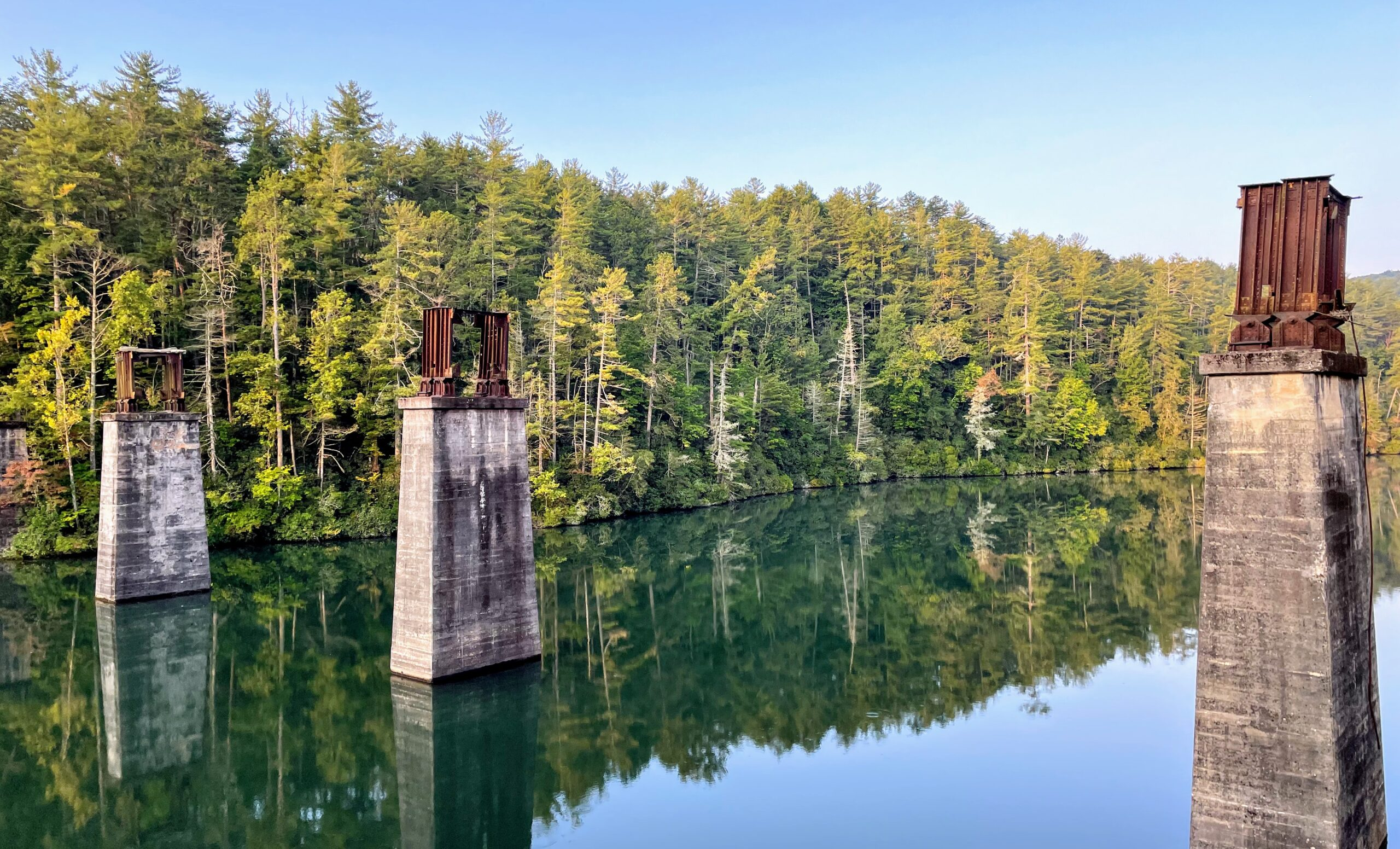 Tallulah Falls Lake including old train tressel supports